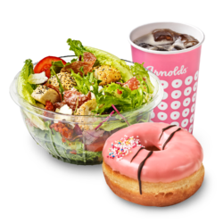 Salad, drink & donut
